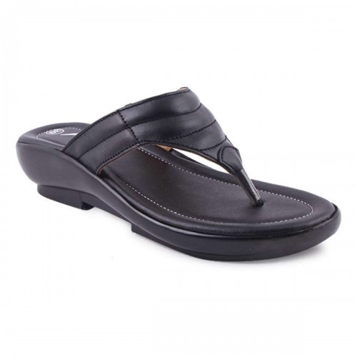 Black Leather Casual Heeled Sandal For Women