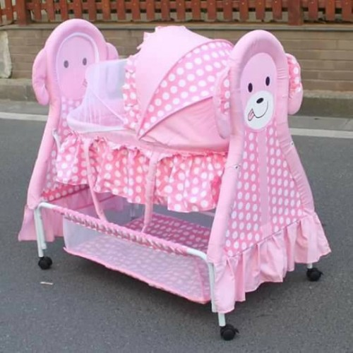 Rocking Cradle With Animal Design pink