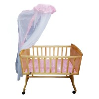 Baby Wooden Cradle Bed with Mosquito Net
