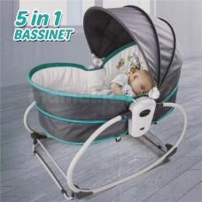 Premium 5 In 1 Newborn Baby Rocker Bassinet Bouncer