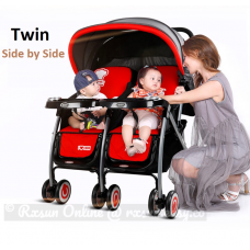BBH 703B Twins Baby Stroller - Can lying Separately (Red)