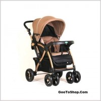 BBH-C5 Rose Red full canopy baby bed stroller(sit and lie modes)