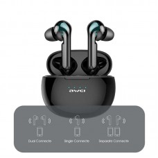 Awei T15 tws Bluetooth Headset Wireless Waterproof Touch Earbud In-Ear T15P LED Display - Black-T15