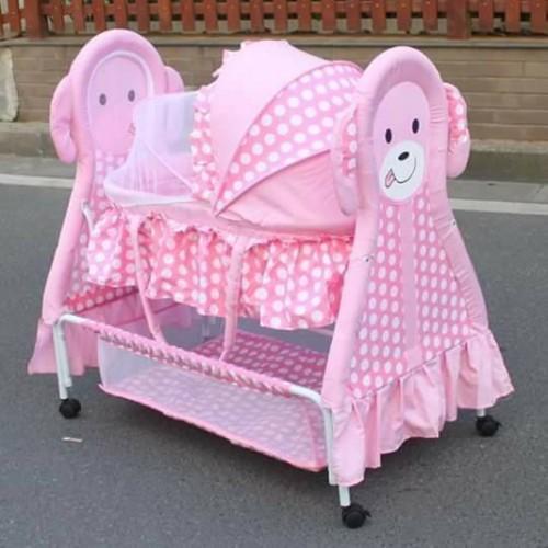 Rocking Cradle With Animal Design pink