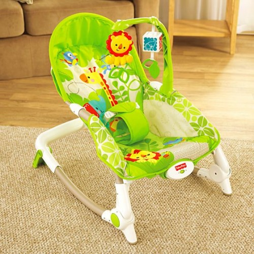 Fisher Price Rainforest Friends Infant Baby Interactive Vibrating Baby Bouncer