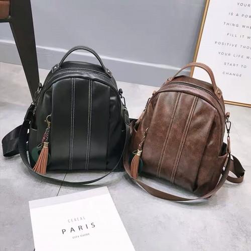 Korean soft leather backpack female ins super fire casual school bag