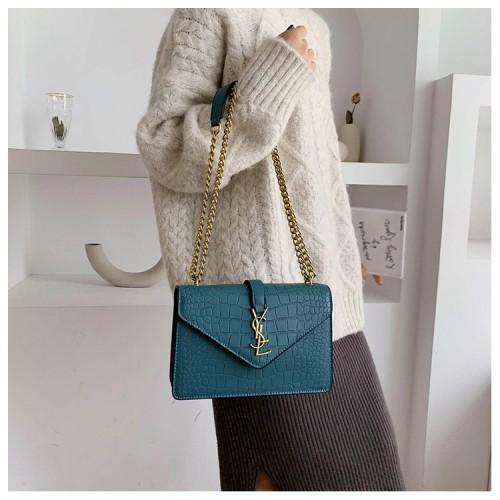 Women's trendy texture chic chain small square bag wild diagonal shoulder bag