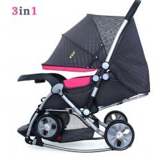 BBH 720-N Baby Cradle Stroller (Pink)