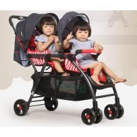 BBH Twin Baby Stroller Premium Prams- Blue