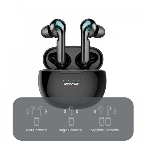 Awei T15 tws Bluetooth Headset Wireless Waterproof Touch Earbud In-Ear T15P LED Display - Black-T15
