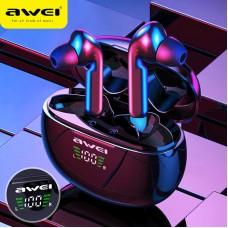 Awei T15P tws Bluetooth Headset Wireless Waterproof Touch Earbud In-Ear T15P LED Display - Black-T15