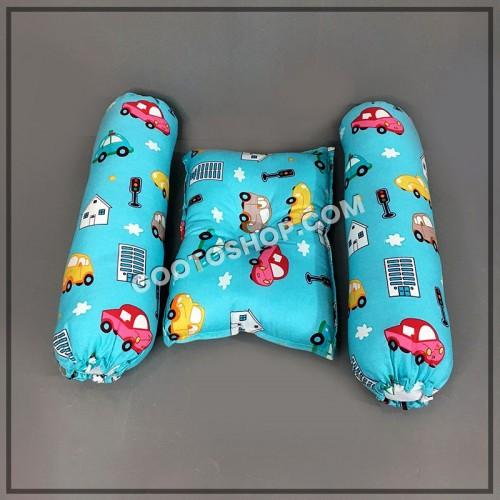 Premium Cotton Pillow Set (1 Pillow & 2 Side Pillows)